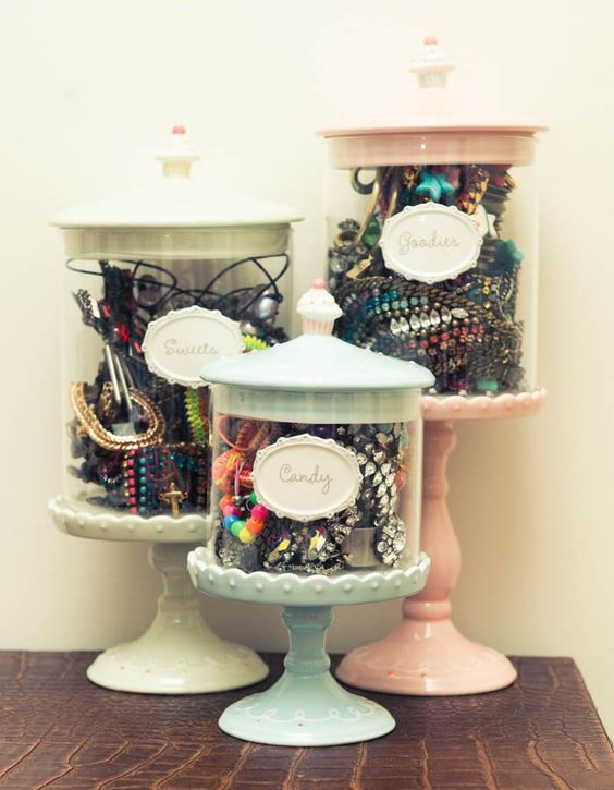 Uocycled jars & dollar store candle sticks for hair ties & accessories #organize #storage