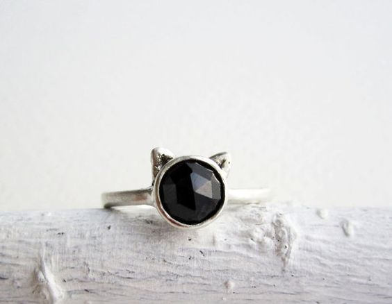 Black Cat Ring Black Spinel and Sterling Silver by EveryBearJewel, $59.00