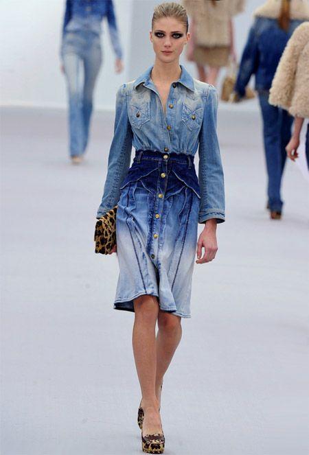the flare denim jean trend street style  denim-dress-by-fashion ...
