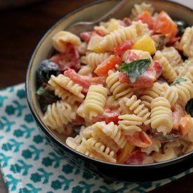 Heirloom tomato pasta salad with ricotta salata cream sauce