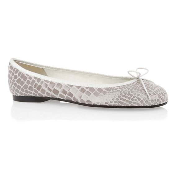 Grey Patent and Nubuck Mix Croc ballet flats   French Sole