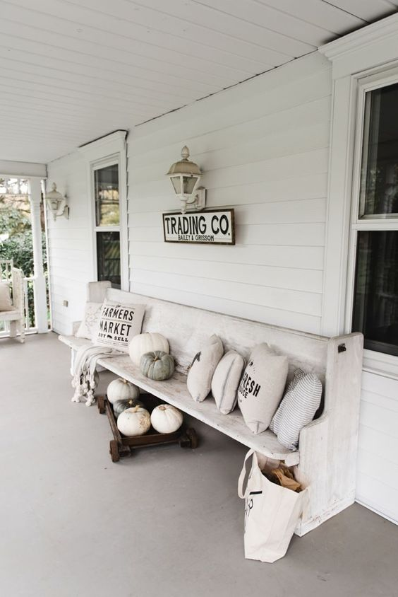 Fall Church Pew On The Porch Modern Farmhouse Porch House With