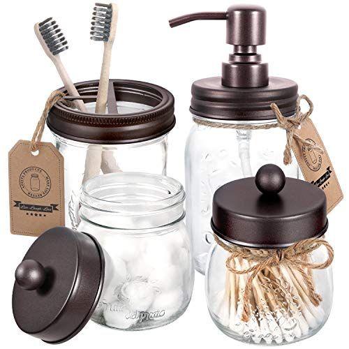 Aozita Mason Jar Bathroom Accessories Set 4 Pcs Mason Jar Soap Dispenser 2 Apothecary Jars Toothbrush Holder Rustic Farmhouse Decor Bathroom Home Decor In 2020 Mason Jar