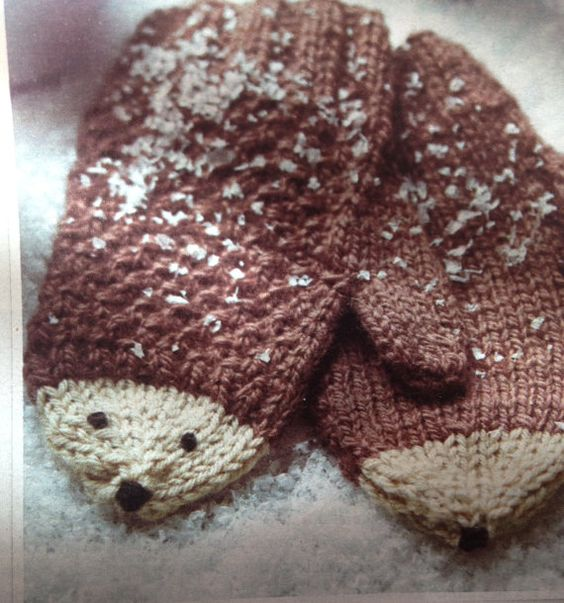 Childrens Hedgehog Mittens  Knitting Pattern by GiftsFromCambridge