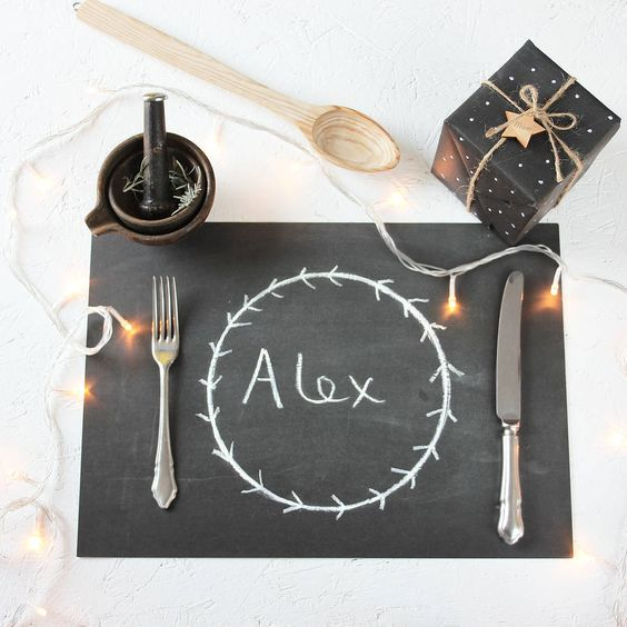 Chalkboard Christmas Dinner Placemat Sheets. Gorgeous chalk board placements to give your christmas dinner table a personal and rustic touch. You can decorate or write straight onto the paper.: