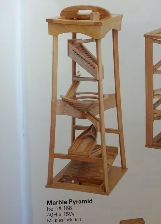 Tall Amish Made Handcrafted Wood Marble Ball Pyramid Maze