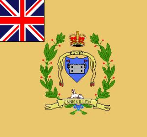"British 27th Regiment (Inniskillings) flag, This regiment was originally made up mostly of Irish recruits, and was nearly obliterated at Waterloo, mainly from French artillery fire.  One eyewitness said that at at the conclusion of battle, the regiment looked as if it was lying ""dead in square""."