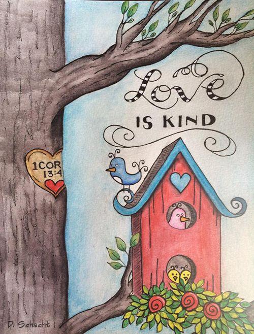 Love is kind. 1 Corinthians 13:4 - Bible Journaling.