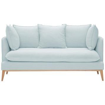 2-Sitzer Sofa Hellblau Designer Couch Sofa