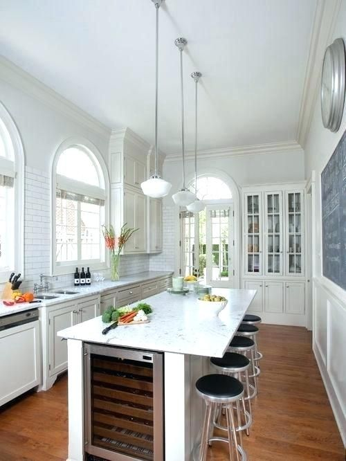 Download Wallpaper White Kitchen Island With Overhang