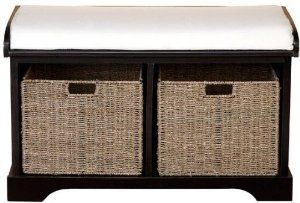 """Nelson Bench, 21""""Hx35""""Wx17""""D, BLACK by Home Decorators Collection. $199.00. 20""""H x 33.75""""W x 15.75""""D.. Our Nelson Bench features a black wood finish with two wicker drawers that add plenty of storage to your foyer or mud room. The baskets can hold everything from winter clothing accessories to dog leashes. The seat is the perfect place to put your shoes on in the morning. Order now. Black wood and wicker construction. Drawers offer ample storage space. White cushion. A..."""