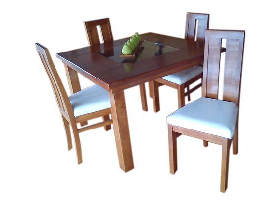 Comedor san jos con 4 sillas tapizadas en loneta y mesa for Sillas rusticas tapizadas