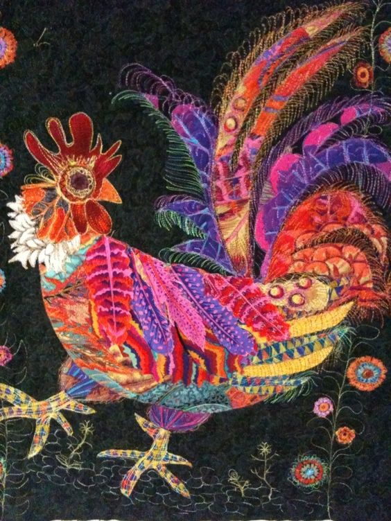 Mark Heard's rooster from Raylene displayed on Kathy Doughty website: Material Obsession, ideas from Alexander Henry designs