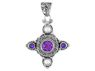 We feel regal with this multicolor pendant and its hints of purple and white!    2.43ctw Mystic(R) Quartz, African Amethyst And Fwp Silver Pendant