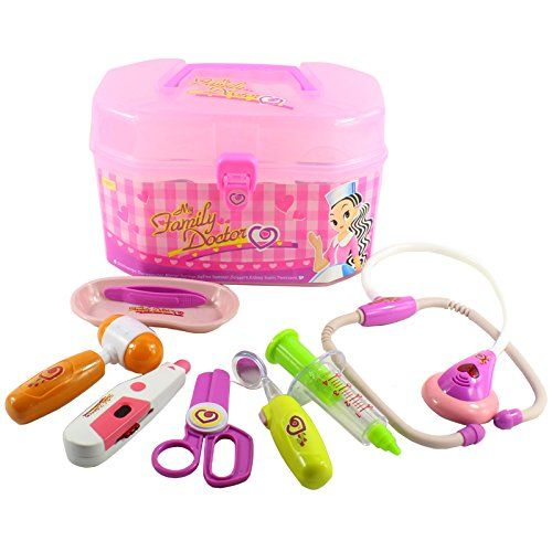 ZUINIUBI plastic pink Medicine chest box Medical Kits 8pcs simulation role play Pretend Play nurse doctors Stethoscope Injection toys baby child early education learning toys ** You can get additional details at the image link.