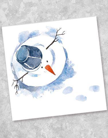 Blue Ink Studios Watercolor Snowman In 2019 Aquarell Weihnachten