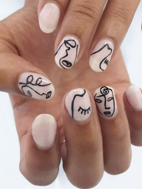 Abstract Faces Nail Art With Images Picasso Nails Nails