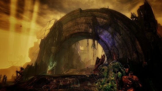 The old gates of Arah, devasted capital of the old kingdom of Orr, and now residence of the baleful dragon Zhaïtan.