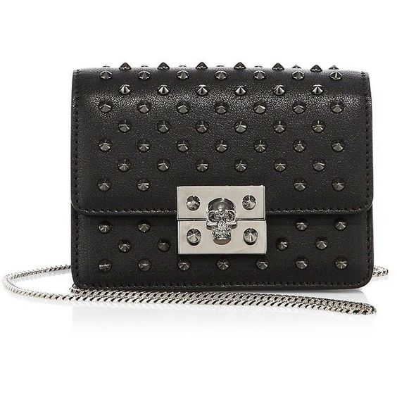 Alexander McQueen Skull Mini Studded Leather Chain Wallet ($1,695) ❤ liked on Polyvore featuring bags, wallets, apparel & accessories, black, leather pocket wallet, alexander mcqueen wallet, leather flap wallet, chain wallet and leather chain wallet
