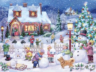 Snowman Celebration Jigsaw Puzzle | New Jigsaw Puzzles | Vermont Christmas Co. VT Holiday Gift Shop