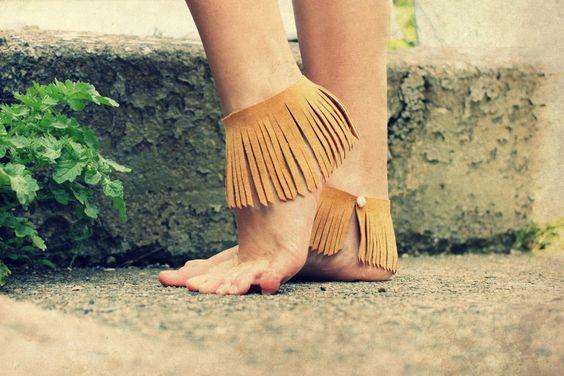 Fringe Anklets or Armbands, natural leather suede. $35.00, via Etsy.