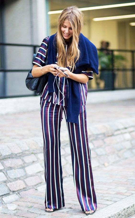 Striped silk matching set: