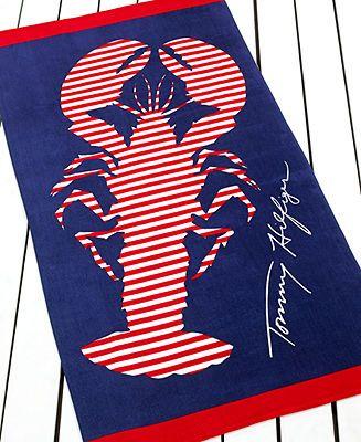 Tommy Hilfiger Lobster Stripe Beach Towel - Bath Towels - Bed & Bath - Macy's