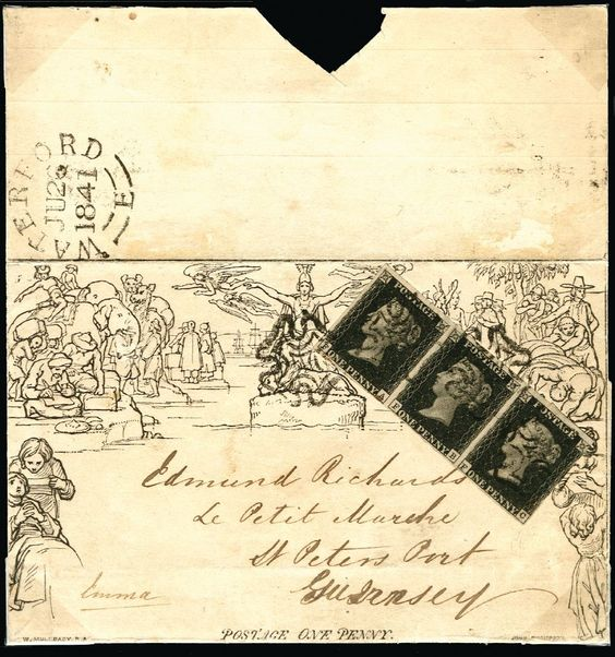 """GB 1840 SGME1,2 Pl.10 Cover 1840 1d Mulready Lettersheet (Stereo obscured). Beautiful 4d rate franking for an up to 2oz package, sent from Waterford (Ireland) to Guernsey uprated with a 1d black Pl.10 horizontal strip of three lettered FA-FC (Small tear at right hand side of FC) neatly cancelled and tied by black MC's with a crisp Waterford datestamp on reverse for JU.26.1841. A stunning uprated franking and one of the gems of the """"Mayflower"""" collection. Ex. """"Daisy"""" 1996 BPA Cert."""