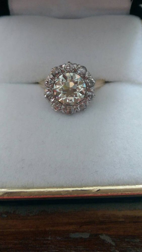 Check out this item in my Etsy shop https://www.etsy.com/listing/203742948/edwardian-14k-gold-mine-cut-diamond-halo