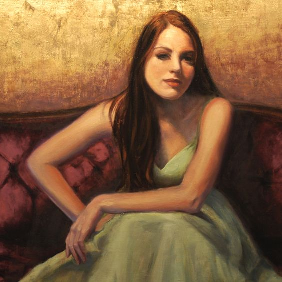 """""""Contemplative"""" This figurative painting is painted with oil and metal leaf. 18"""" X 24""""  #gilded figure   #woman and gold  #gilded portrait"""