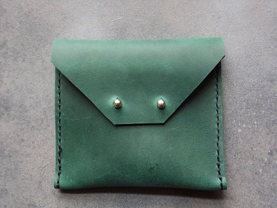 *** Green Small Wallet ***  This Minimalist Leather Wallet / Leather Card Holder…