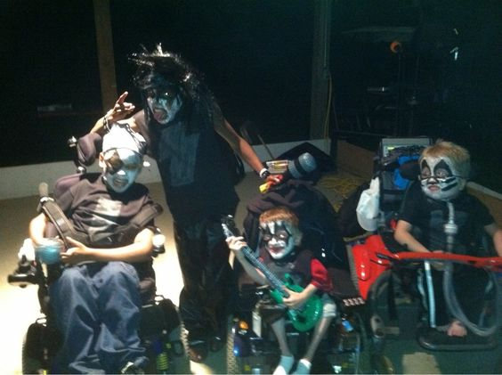 I volunteer at a camp for ventilator dependent children. Here they are dressed as KISS for the talent show. - super cool kids