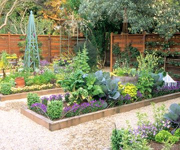 Colorful Vegetable Garden Plan  Freely mix flowers and greens to create a garden that is a feast for both the eyes and the palate.: