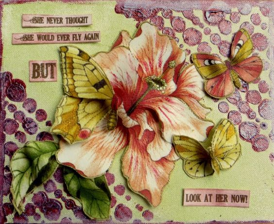 A Toast to Altered Art: Breast Cancer Awareness Month at Art Anthology: a dimensional fabric canvas piece using Art Anthology paints and stencils and Beacon's fabric stiffener and 3 in 1 Adhesive