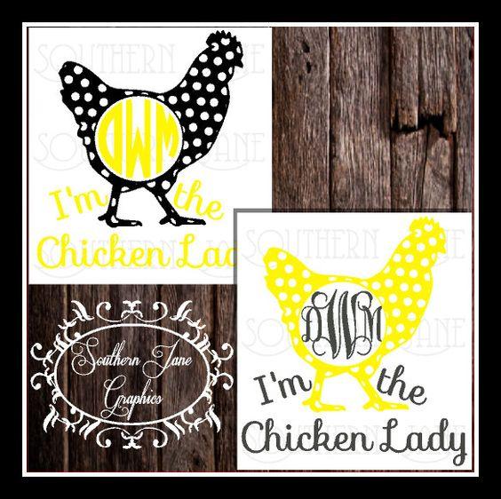 cute monogram chicken decal sticker  u0026quot  i u0026 39 m the chicken lady  u0026quot  polka dotted chicken car window