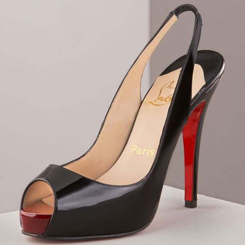 louboutin men trainers - Black patent leather; red toe. Elasticized slingback. Open toe. 4 ...