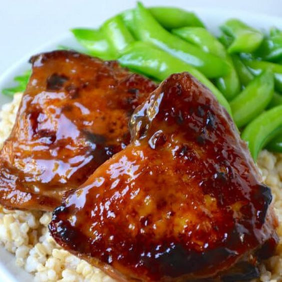 Honey balsamic baked chicken thighs recipe main dishes for Low sodium fish sauce