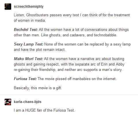 It also passed the Pantomime test, which means that the female character can be switched with a man with little to no edits, and the Phyrne Fisher test which means that the female character has a traditionally masculine job and is not sexualized in the narrative!