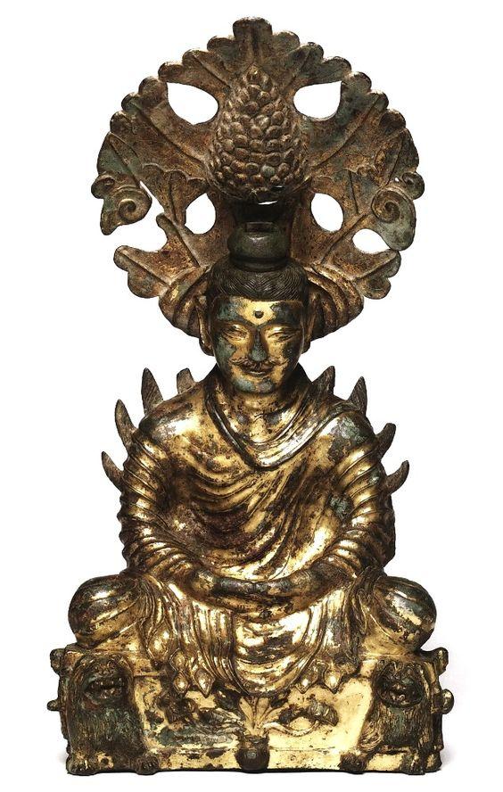 美國哈佛大學福格美術館藏(Fogg Art Museum)金銅佛坐像