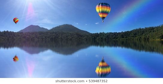 Beautiful Landscape Of Mountains And Colorful Hot Air Ballon With Reflection Em 2019