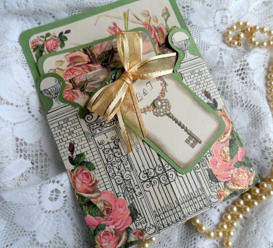 Garden Wedding Invitation Ideas: Secret Garden Wedding Invitation Handmade Suite, RSVP