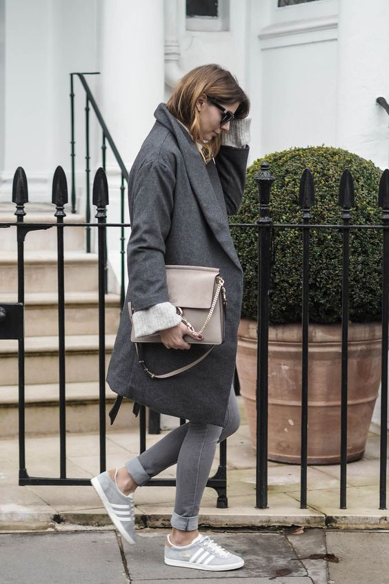 grey outfit - grey coat, skinny jeans, chloe faye bag, chunky jumper, adidas gazelle go trainers, winter style: