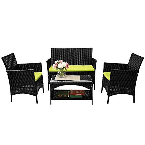 Brown Merax 4-Piece Patio Furniture Set Outdoor Garden Lawn Pool Rattan Sofa Wicker Conversation Set Coffee Table Bistro Sets with Weather Resistant Cushions