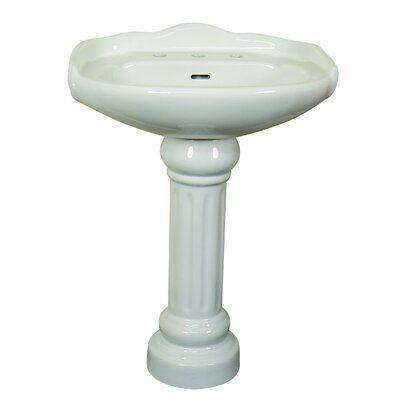 Fine Fixtures Victorian Ceramic 22 Pedestal Bathroom Sink With