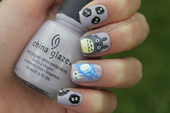 #Totoro nails!: Nail Art Totoro, Cute Nails, Hair Nails Eyes 0 0, Disney Nails, Totoro Miyazaki Nails, Nail Design, Totoro Nails, Make Up Skin Treatments Nails, Fab Nails