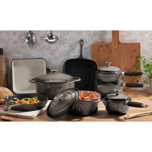 8 Piece Cast Iron Cookware Set Cooks Professional Colour Blue