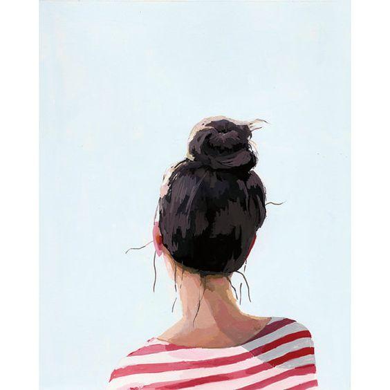 8x10 hair art bun print Top Knot 24 by ElizabethMayville on Etsy