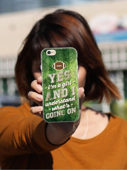 """Give your iPhone 6 & 6s cell phone a unique style all its own. This """"Yes I'm A Girl and I Understand Football"""" Case was professionally created and printed in the United States for all the football girls out there rooting for their team! Textured printing raises parts of the images, creating a unique feel like no other case.  The case features high-quality, original design and images that not only set you apart, but keep your device protected - making it the perfect iPhone 6 & 6s accessory!"""