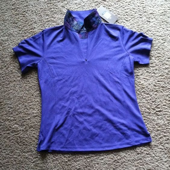Hydro-dri athletic polo Hydro-dri fabric wicks moisture away from the skins surface to keep you dry & comfortable. Pretty purple polo with fun detail on collar. Zip up closure, light weight fabric Tops Tees - Short Sleeve