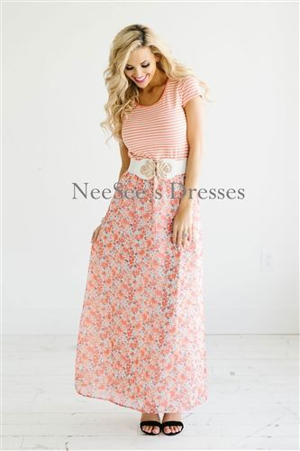 Stripes &amp- Floral Summer Maxi Dress - Woman clothing- Modest ...